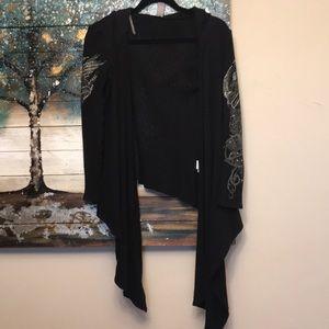 Hooded bat wing jeweled cardigan